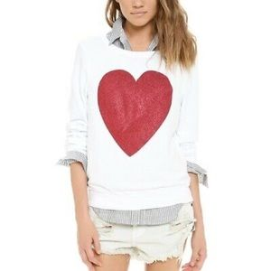 Wildfox Glitter Heart Long Sleeve Top Size S